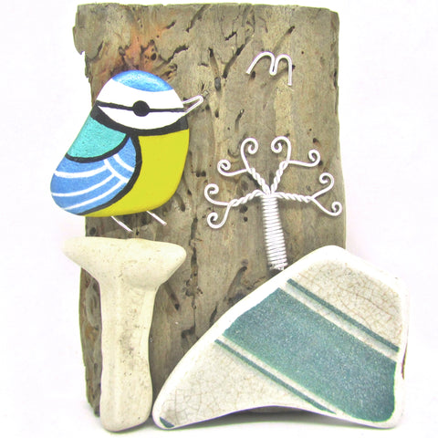 Hand Painted Pebble Blue Tit and Wire Wrapped Tree on Driftwood (No. 765)