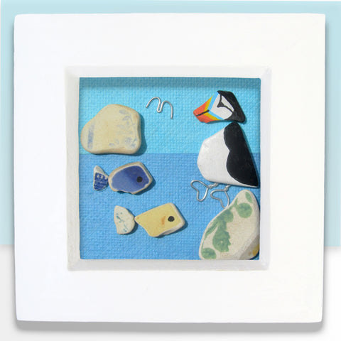 Hand-Painted Puffin & Pottery Fish - Small Framed Beach Collage (No. 768)