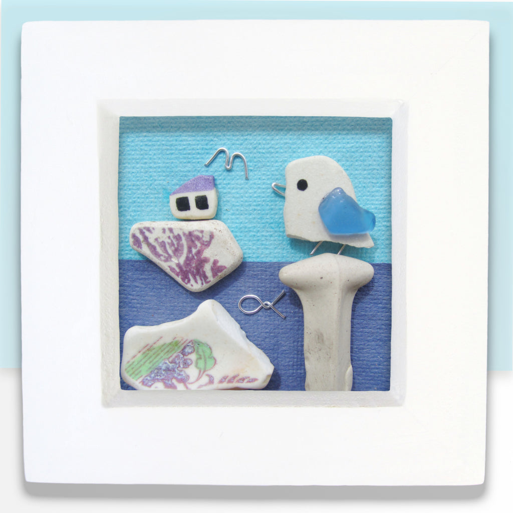 Pebble Seagull & Purple Fishing Boat - Small Framed Beach Collage (No. 769)