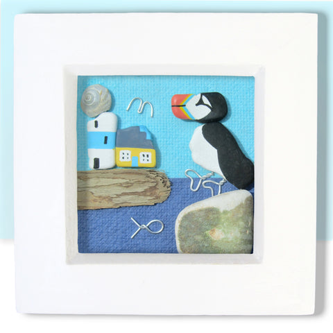 Hand-Painted Puffin, Lighthouse & Cottage - Small Framed Beach Collage (No. 772)