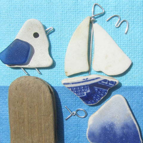 Pebble Seagull & Blue Beach Pottery Sailing Boat - Small Framed Beach Collage (No. 773)