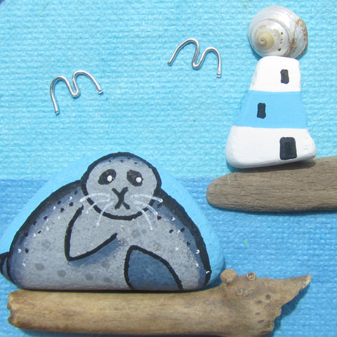 Hand-Painted Pebble Seal & Lighthouse - Small Framed Beach Collage (No. 775)
