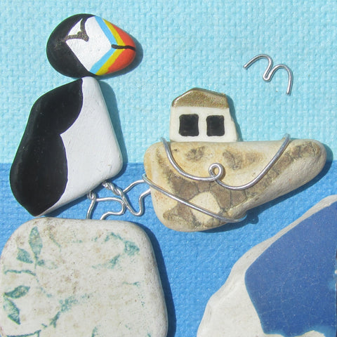 Hand-Painted Puffin & Wire Wrapped Fishing Boat - Small Framed Beach Collage (No. 776)
