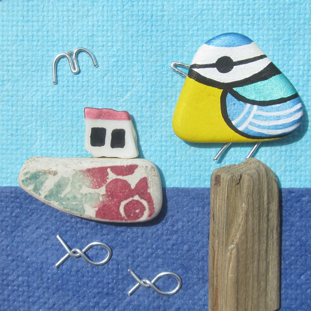 Hand-Painted Blue Tit & Floral Fishing Boat - Small Framed Beach Collage (No. 777)