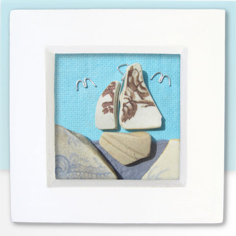 Antique Pottery Brown Floral Sailing Boat - Beach Pebble Art - Mini Framed Picture (No. 778)