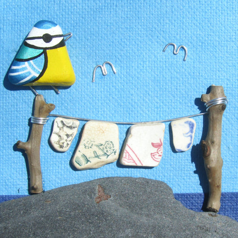 Hand-Painted Blue Tit and Antique Pottery Washing Line - Framed Beach Collage (No. 784)