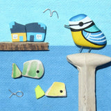 Hand-Painted Blue Tit and Antique Pottery Fish & Cottages - Framed Beach Collage (No. 787)