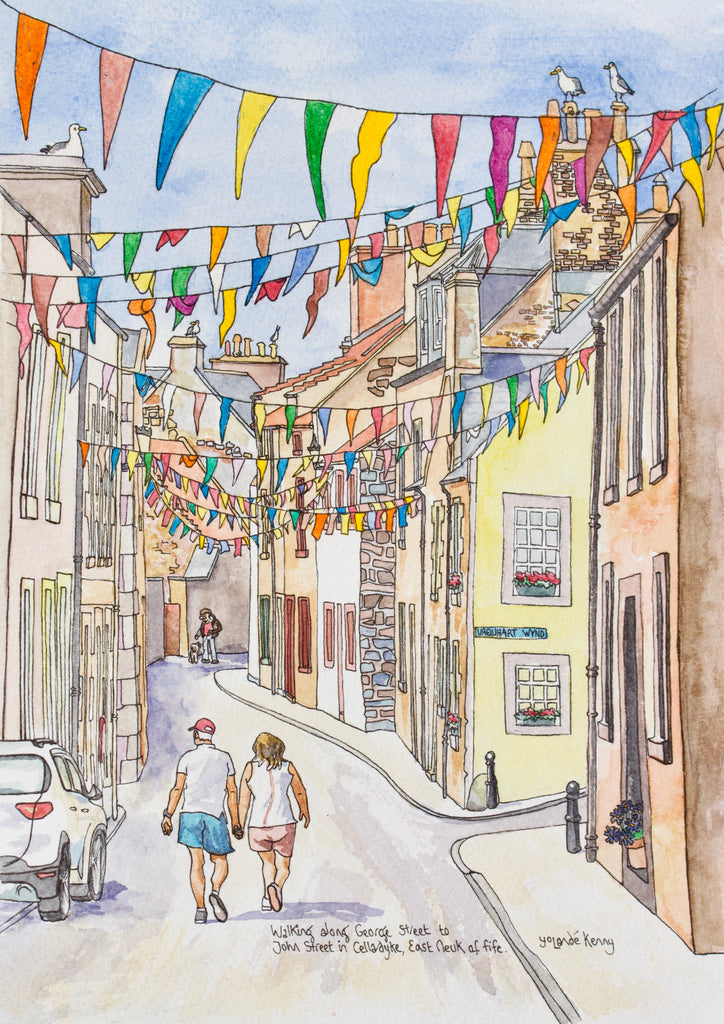 George Street in Cellardyke - Limited Edition Watercolour Print by Yolandé Kenny