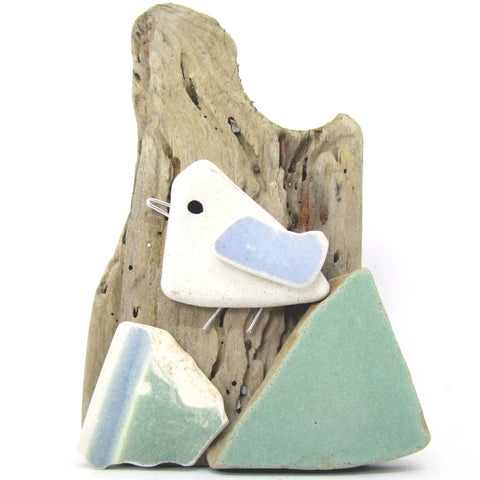 Pebble Seagull & Sea Pottery Driftwood Ornament (No. 806)