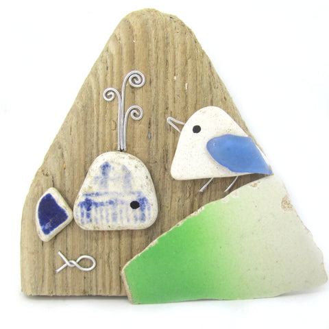 Pebble Seagull & Whale Sea Pottery Driftwood Ornament (No. 808)