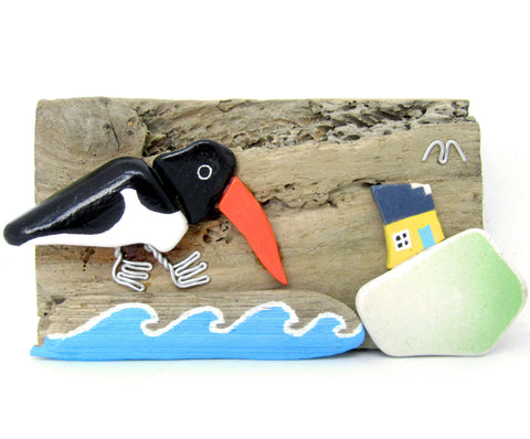 Hand Painted Pebble Oystercatcher & Cottage Sea Pottery Driftwood Ornament (No. 811)