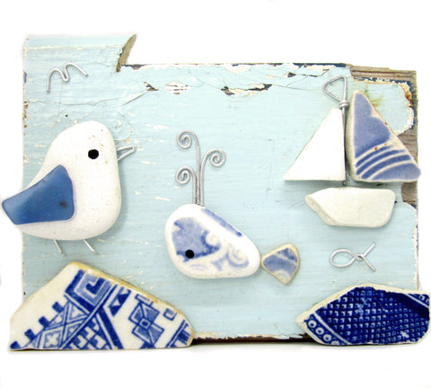 Pebble Seagull, Whale & Sailing Boat Sea Pottery Driftwood Ornament (No. 813)
