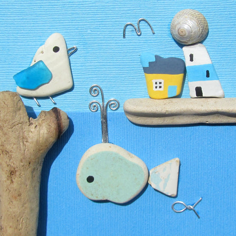 Pebble Seagull and Antique Pottery Whale, Lighthouse & Cottage - Framed Beach Collage (No. 816)