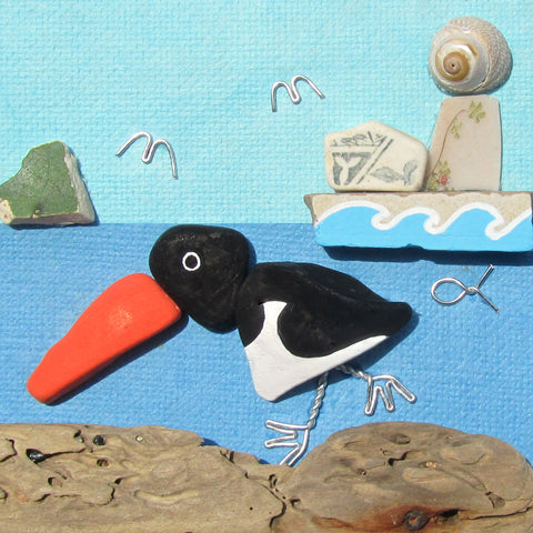 Hand-Painted Oystercatcher & Pottery Lighthouse - Framed Beach Collage (No. 819)