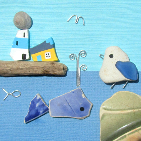 Pebble Seagull and Antique Pottery Whale, Lighthouse & Cottage - Framed Beach Collage (No. 820)