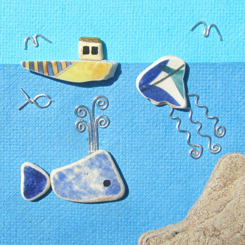'Underwater' - Pottery Whale, Jellyfish & Fishing Boat - Framed Beach Collage (No. 833)