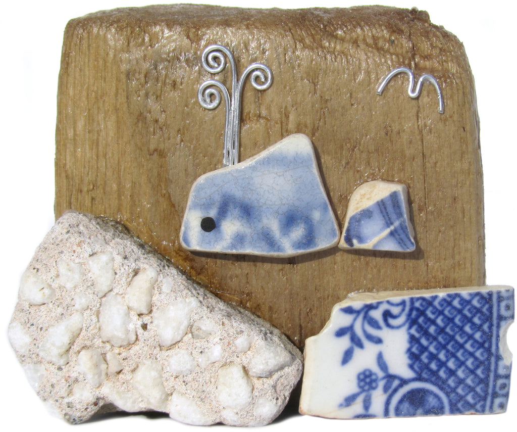 Beach Pottery Whale - Driftwood Ornament (No. 840)