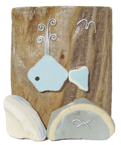 Blue Whale - Beach Pottery - Pebble Art Driftwood Ornament (No. 841)