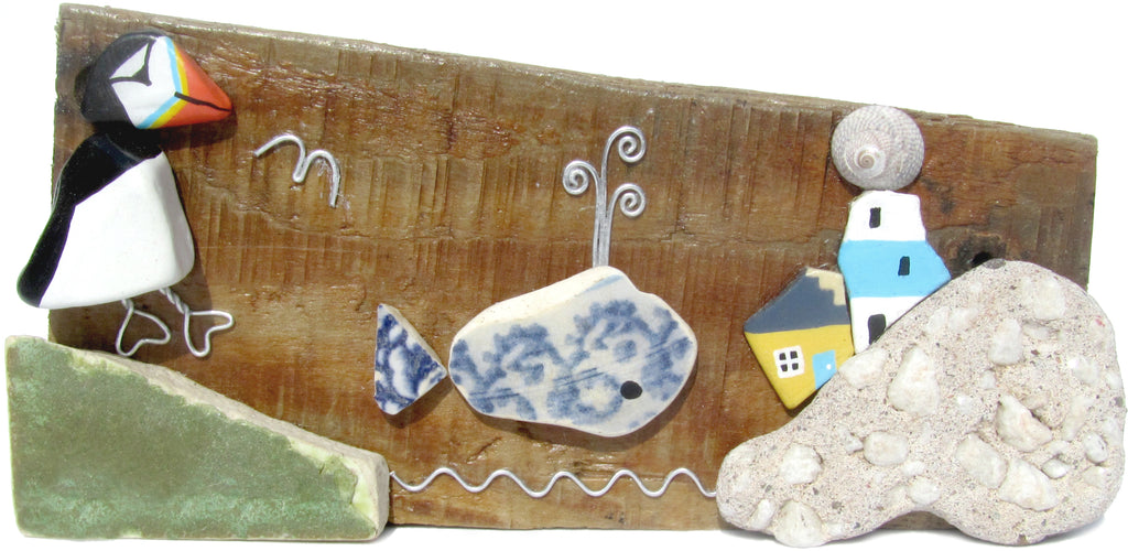 Puffin, Whale & Lighthouse - Beach Pottery - Pebble Art Driftwood Ornament (No. 843)