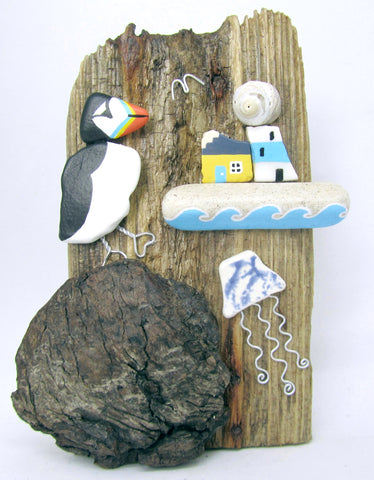 Hand Painted Pebble Puffin, Jellyfish & Lighthouse - Driftwood Ornament (No. 844)