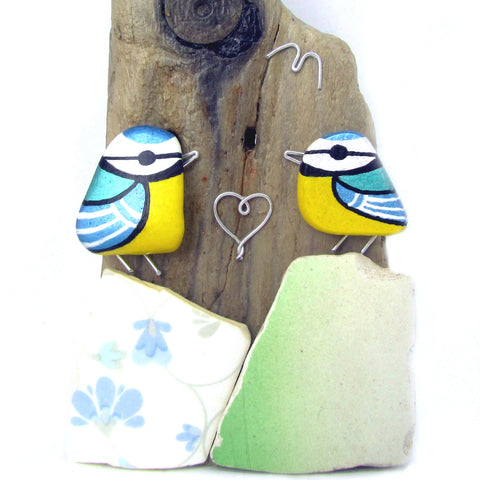 Hand Painted Pebble Blue Tits and Wire Wrapped Heart - Driftwood Ornament (No. 845)