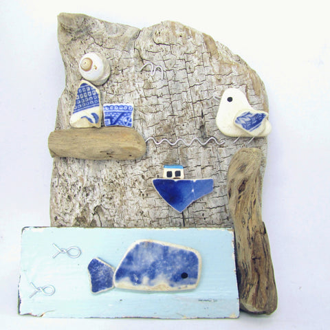 Pebble Seagull, Whale, Fishing Boat & Lighthouse - Driftwood Ornament (No. 846)