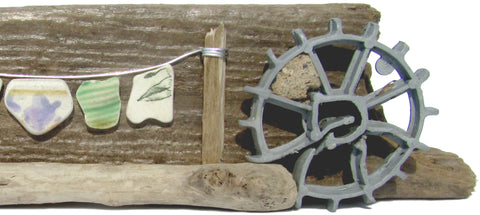 Pebble Seagull, Waterwheel & Antique Pottery Washing Line - Driftwood Ornament (No. 848)