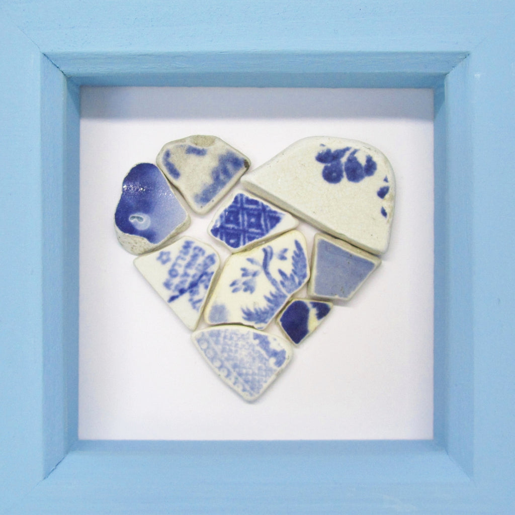 antique blue white beach pottery love heart small framed beach col