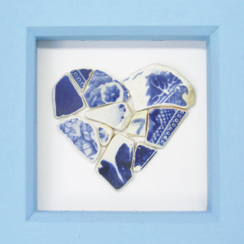 Antique Blue & White Beach Pottery Love Heart - Small Framed Beach Collage (No. 850)