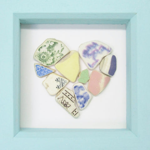 Antique Pastel Beach Pottery Love Heart - Small Framed Beach Collage (No. 851)