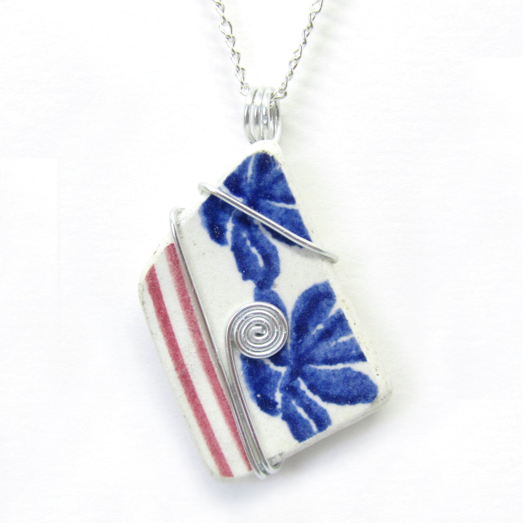 Red & Blue Antique Spongeware Beach Pottery Pendant Necklace (No. 857)