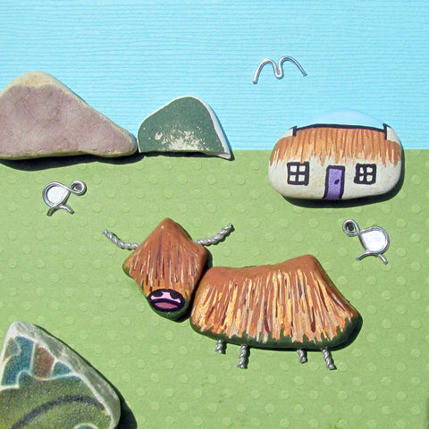 Hand-Painted Highland Cow, Bothy & Sheep - Framed Beach Collage (No. 876)