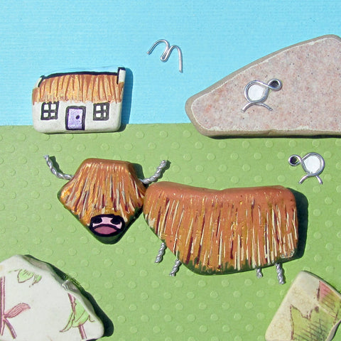 Hand-Painted Highland Cow, Bothy & Wire Sheep - Framed Beach Collage (No. 877)