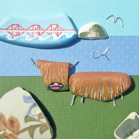 Hand-Painted Highland Cow & Forth Rail Bridge - Framed Beach Collage (No. 878)