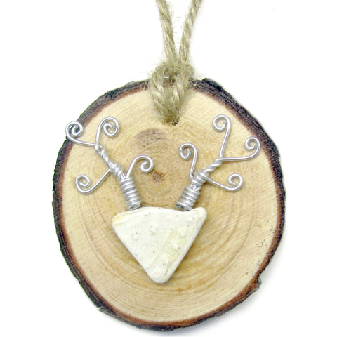 Stag - White Embossed Antique Beach Pottery Wood Hanger (No. 906)