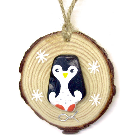 Penguin - Hand-Painted Beach Pebble Christmas Tree Decoration (No. 909)