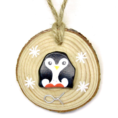 Penguin - Hand-Painted Beach Pebble Christmas Tree Decoration (No. 910)