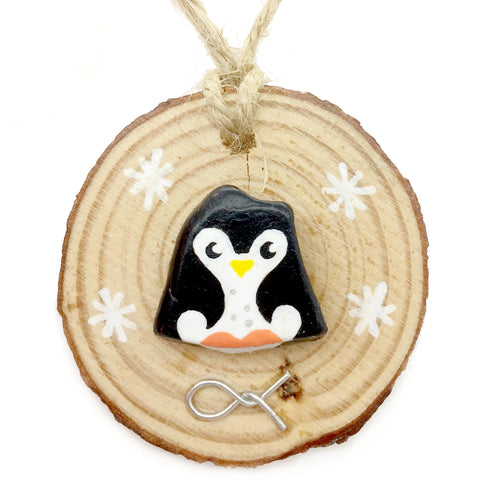 Penguin - Hand-Painted Beach Pebble Christmas Tree Decoration (No. 912)