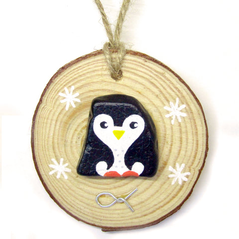 Penguin - Hand-Painted Beach Pebble Christmas Tree Decoration (No. 913)