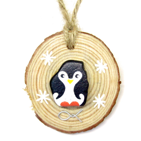 Penguin - Hand-Painted Beach Pebble Christmas Tree Decoration (No. 914)