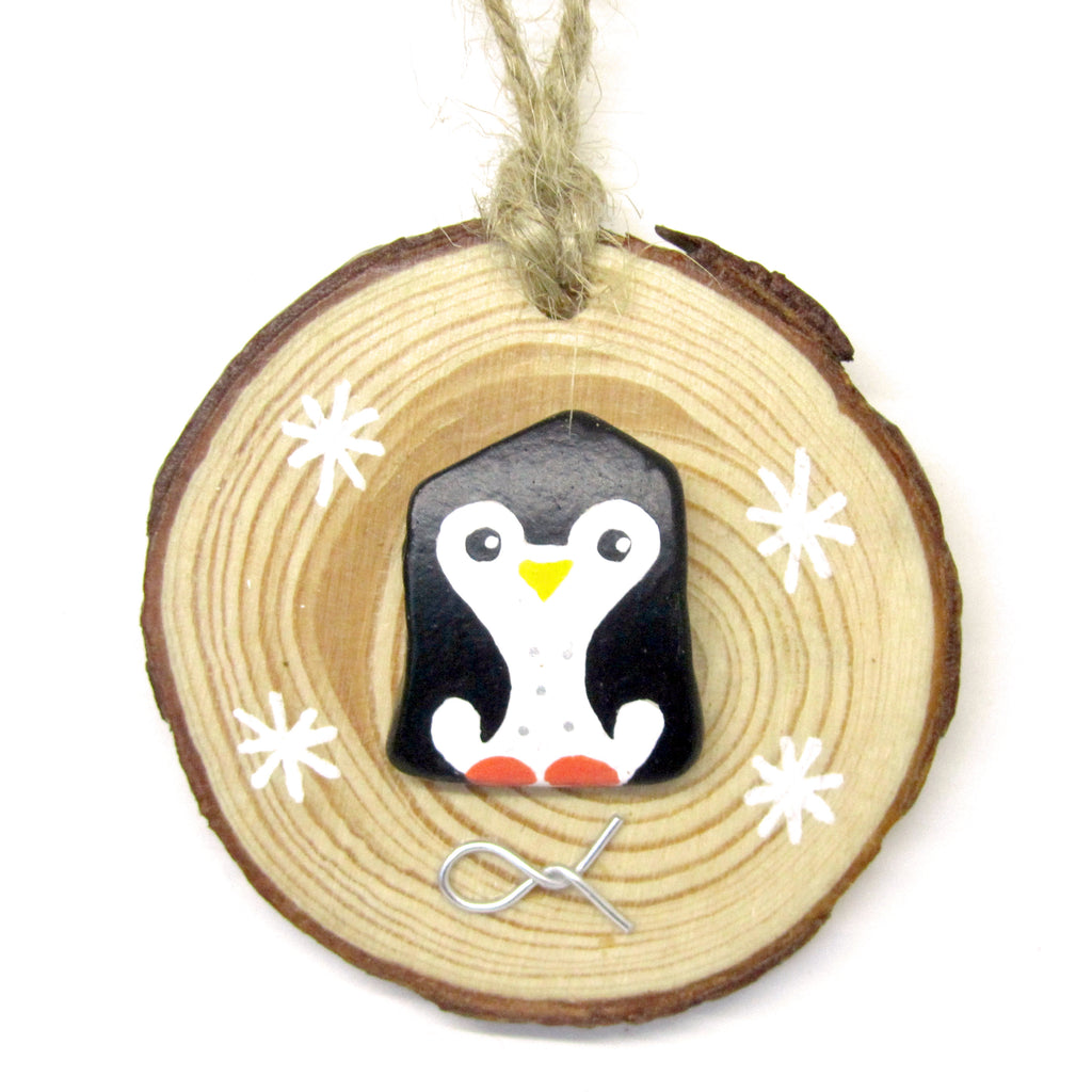 Penguin - Hand-Painted Beach Pebble Christmas Tree Decoration (No. 917)
