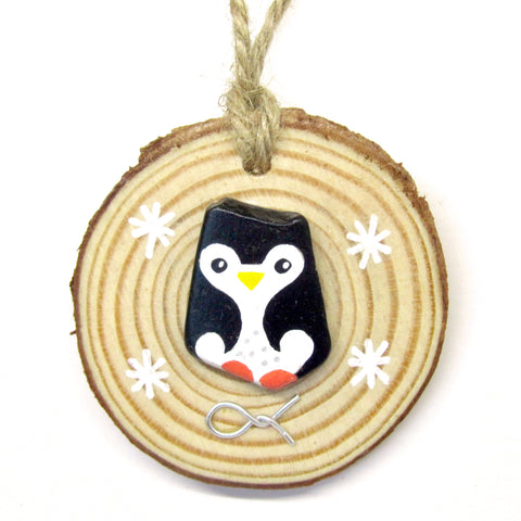 Penguin - Hand-Painted Beach Pebble Christmas Tree Decoration (No. 919)