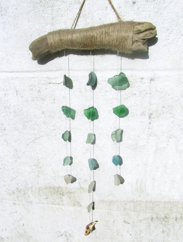 Driftwood Mobile with Tiered Green Sea Glass (No. 927)