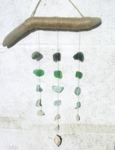 Driftwood Mobile with Tiered Green Sea Glass (No. 928)