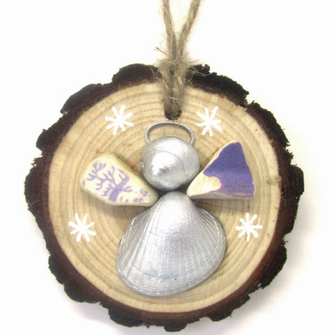 Angel - Cockle & Whelk Silver Shell & Purple Beach Pottery Christmas Tree Decoration (No. 933)