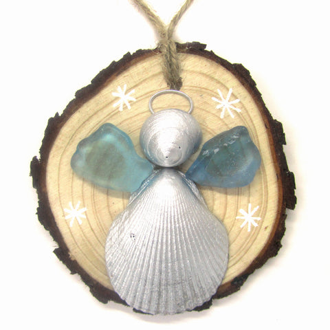 Angel - Cockle & Whelk Silver Shell & Turquoise Sea Glass Christmas Tree Decoration (No. 934)