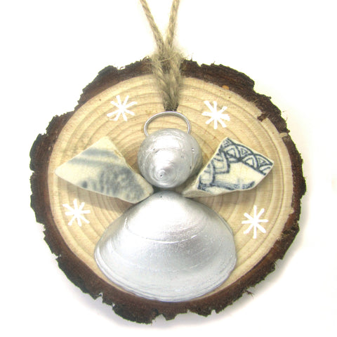 Angel - Cockle & Whelk Silver Shell & Beach Pottery Christmas Tree Decoration (No. 935)