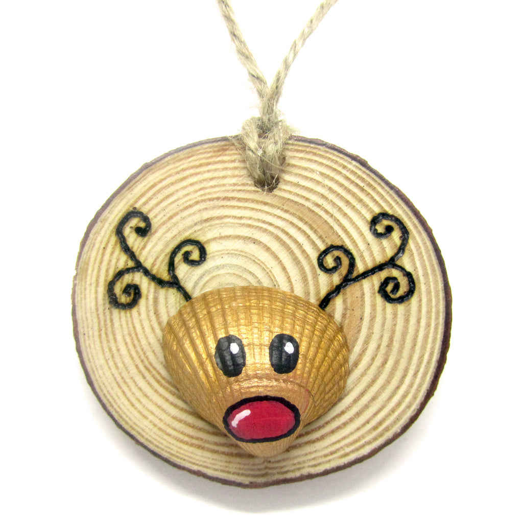 Rudolph the Reindeer - Cockle Shell Christmas Tree Decoration (No. 938)