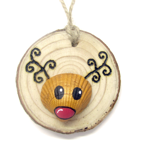 Rudolph the Reindeer - Cockle Shell Christmas Tree Decoration (No. 939)