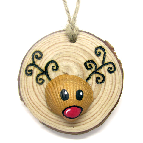 Rudolph the Reindeer - Cockle Shell Christmas Tree Decoration (No. 943)